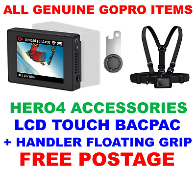Genuine Official Gopro Hero 4 Lcd Touch Bacpac & Chesty Chest Harness/mount
