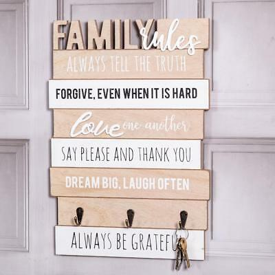 Wooden Family Rules Plaque Sign Rules Shabby Kitchen Vintage Home Chic Gift