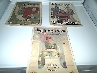 """3 Antique Magazine Lot 1909 -1910 - 1911  """"The Literary Digest"""" Illustrated"""