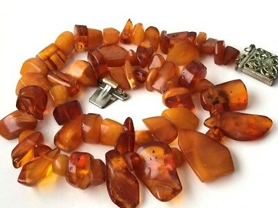 RARE! Natural Antique Baltic Vintage Amber OLD BUTTERSCOTCH  BEADS Necklace 51gr