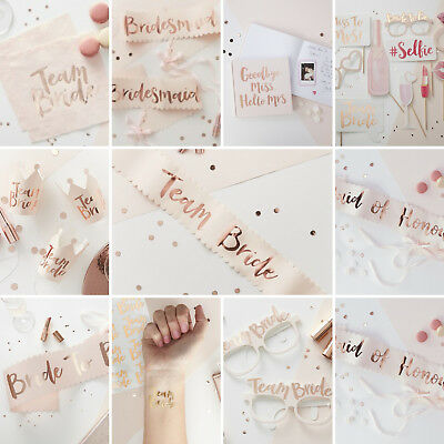Team Bride - Rose Gold Hen Party Sashes Napkins Balloons Maid Honour Bridesmaid