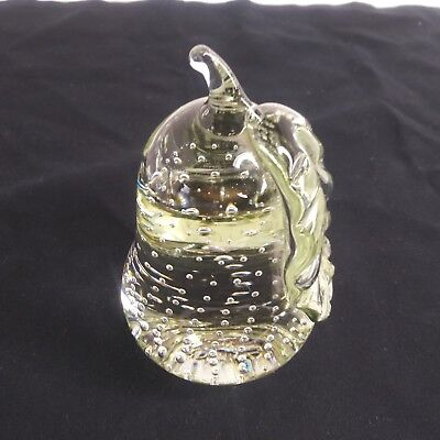 Stout Art Glass Pear Shaped Controlled Bubble Paperweight clear mint  VTG