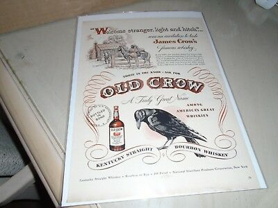 1948 Old Crow Kentucky Whiskey Original Ad
