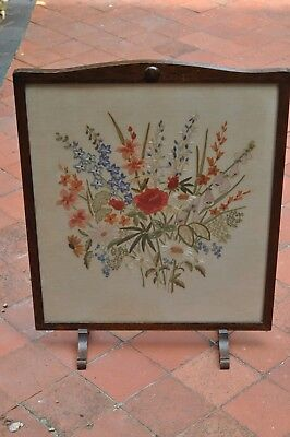 Antique dark wood embrioded firescreen, early 20th century