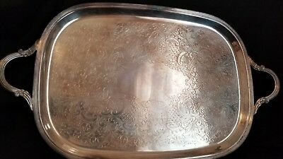 Vintage Silver Plate Serving Tray With Handles - Large, Heavy, 18.5 X 13.5