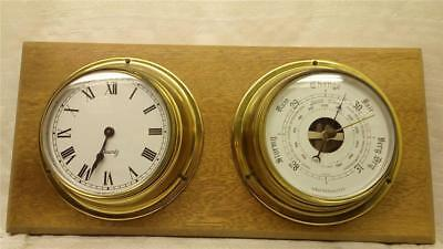Weathermaster Brass Barometer and Clock on Wooden Mount C-0238-MY-W03