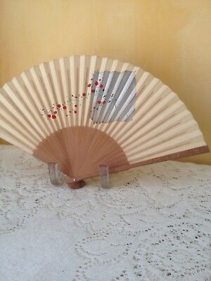 Vintage JAPANESE HAND FAN Silver and Red Paper Bamboo Carved Writing on Ends