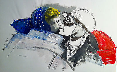 Alfonso De Portago Linda Christian Kiss Oil Painting (No Minichamps, Spark)
