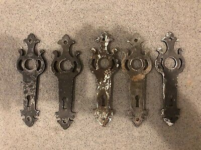 SET Antique Cast Iron Door Back Plate | Knob | Escutcheon |Art Deco | Hardware