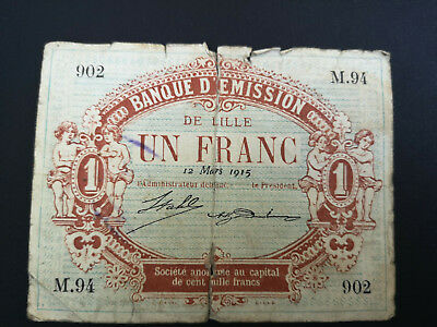 FRANCE banknote 1 Franc - Bank of Lille  Emergency note? 1915