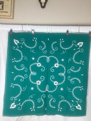 Vintage Green Table Cloth Finishing Touch Embroidered Home Made Unique