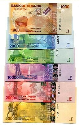 Uganda 1000 2000 5000 - 50000 Shillings 2015-2017 Unc Full Set Of 6