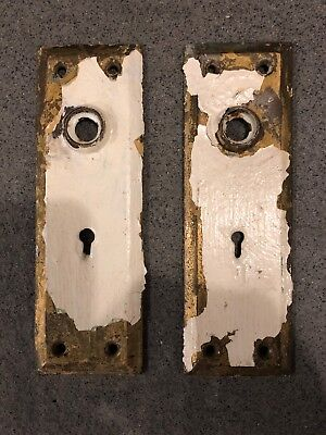PAIR Antique Door Knob Plate, Escutcheon, Backplate, Brass, Hardware
