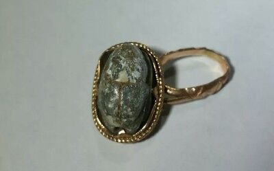 Antique Egyptian Scarab Ring 14k Solid Gold For Repair Scrap, 3+ Grams