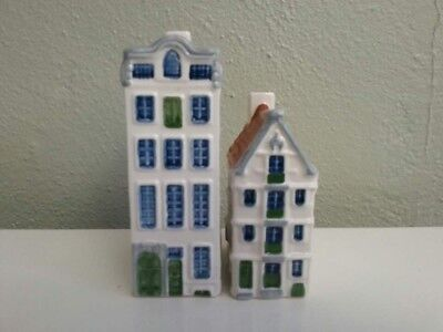 Blue Delft Miniature Canal House Amsterdam Holland Brown Blue Green 2pc