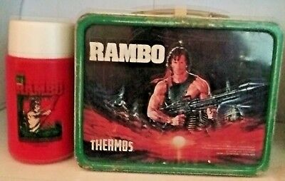 * Vintage *  1985 Rambo Metal Lunchbox And Thermos