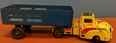 Vtg Wyandotte Valley Farms Trucking Lithograph Tin Semi Truck And Trailer Toy