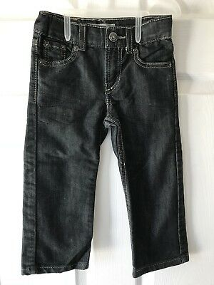 Levis Black Jeans Toddler Boys 2T Denim 514 Slim Straight Adjustable Waist