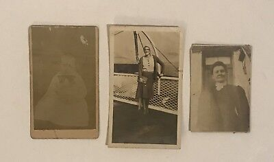 Antique Vintage Photo Lot 1800s 1900s Baby Boy Woman Boat / Bridge / Door Front