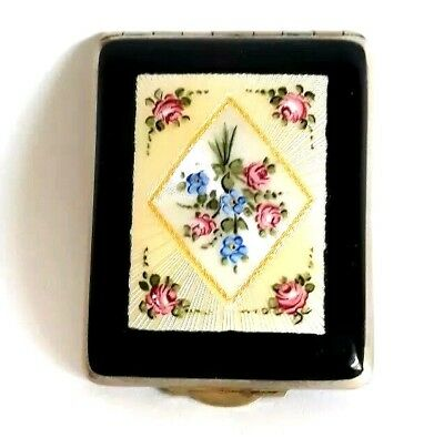Vintage FMCO Double Enamel Guilloche Vanity Compact with Hand Painted Lid. See!