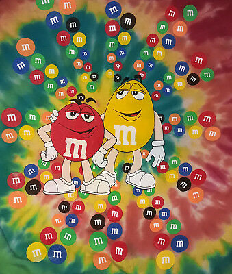 Licensed M&M's Candy Rainbow Tie Dye T-Shirt Large VGUC 42 Chest
