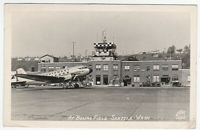 "Real Photo- Boeing Field ""Big"" Airport 1949 Seattle WA Washington Northwest RPPC"