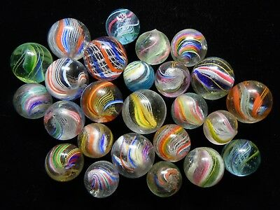 Antique German Handmade Marbles - 25 Assorted Marbles With Hits