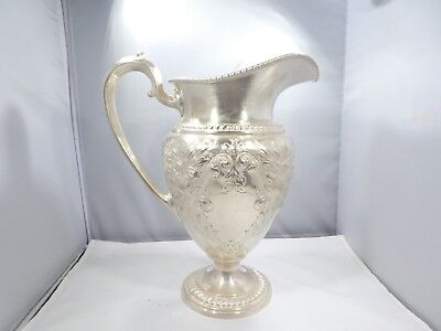 Early Large Frank M Whiting Water Pitcher Champlain Pattern 26.9 Troy Ounces