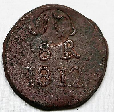 Morelos countermark on Oaxaca 1812 8 Reales SUD XF Copper