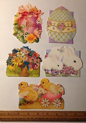 5 Victorian Style Die Cut Easter Greeting Gift Cards Note Blank L1
