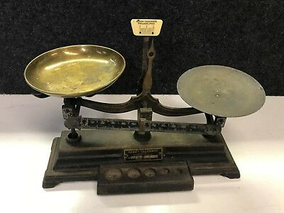 Vintage Henry Troemner No. 4  Balance Scale Set Gold Mining 4 Oz Cast Iron Base