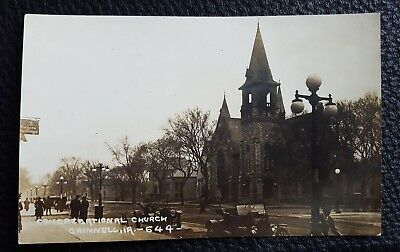 """RPPC Grinnell """"Iowa Congregational Church with vintage scene"""" postcard"""