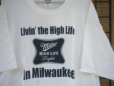 new (XL) MILLER HIGH LIFE LIGHT Beer T Shirt GRILLING BBQ MHL camping Milwaukee