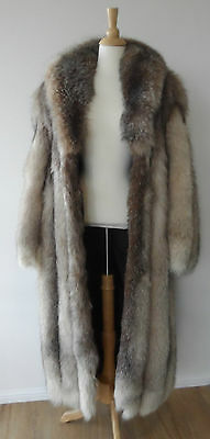 Vintage Beige Brown Thick Full Genuine Real Crystal Fox Fur long Jacket Coat M
