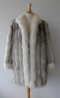 Vintage Silver White Thick Full Genuine Real Crystal Fox Fur Long Jacket Coat M