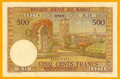 Morocco | 500 Francs | 19-12-1956 | French Colonial Banknote