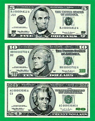 1999 $5  1999 $10  1996 $20  Green Seals Fed Notes Ultra Low Serial Numbers Unc.