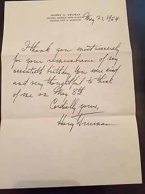 Harry Truman Signed Hand Written Thank You Letter.( 1954)
