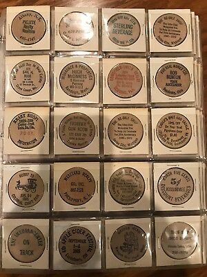 Lot Of 160 Vintage Wooden Nickels USA Variety Binder Insurance Realty