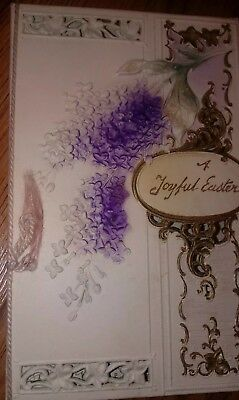 Antique Easter Card Embossed Flowers Satin Rope Thread Christ Lord Risen Song
