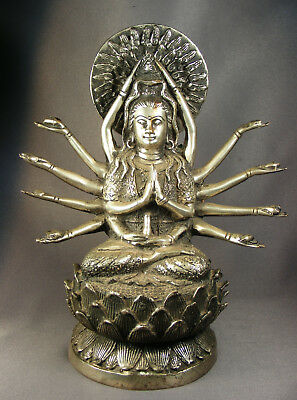 Vtg Hindu God/goddess 14 Arms Silver Alloy Plated Brass Statue/figurine 8-1/4""