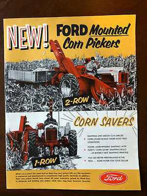 Vintage Ford Tractor Mounted Corn Pickers 1 & 2 Row Sales Brochure 1950s 6 Pages