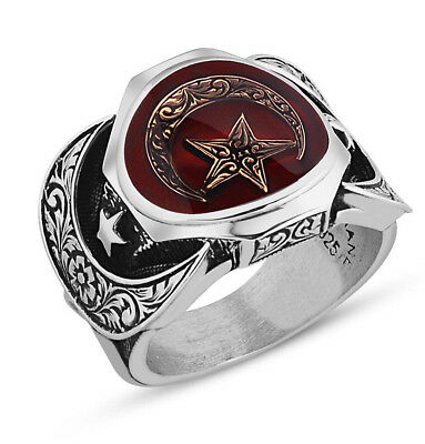 Men's Sterling Silver Ring Islamic Ottoman Crescent Moon Red Enamel Moon & Star