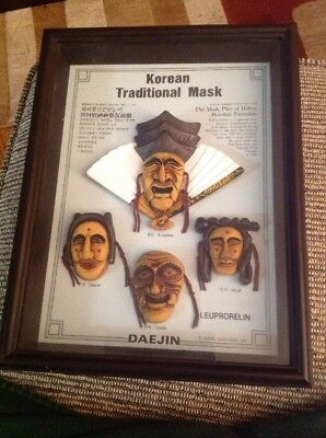 Traditional Korean Mask Image Mini Framed Wall Plaque