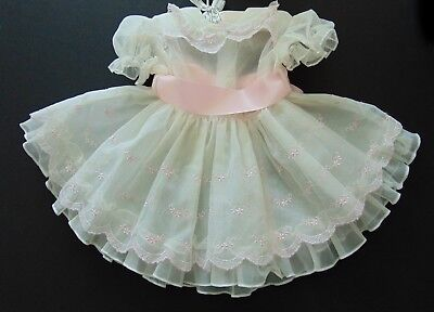 Vintage Toddler Girl Layered White Pink Sheer Ruffle Lace Twirly Party Dress