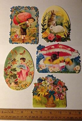 5 Victorian Style Die Cut Easter Greeting Gift Cards Note Blank L2