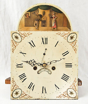 Scottish grandfather clock movement @ 1800 rare double animated dial Must See!