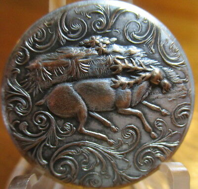 "Antique BACKMARKED ""Sporting Design"" Button ""BUCK DEER STAG"" Hunting Brass Metal"
