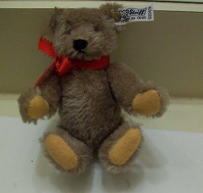"""6.5"""" Brown, Red Bow Steiff Limited Edition Bear, 1982, Button & Tag"""