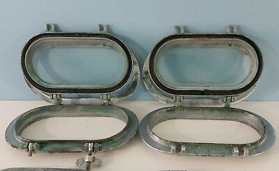 "Pair Antique/vintage 9 1/4"" Chrome Bronze Ships Porthole - Original Glass"